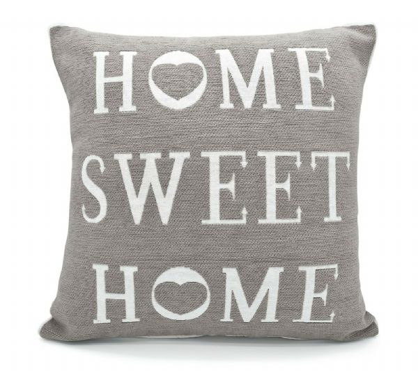 Stylish Shabby Chic Design Home Sweet Home Filled Cushion Grey Colour
